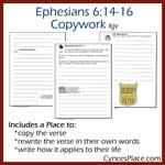 Ephesians 6:14-16 Copywork – kjv
