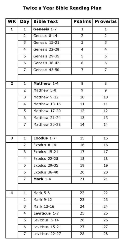 Twice A Year Bible Reading Plan KJV